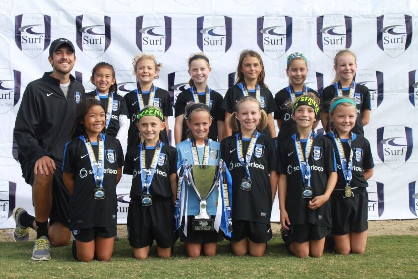 The Surf Girls U9 San Diego Surf Academy Select team recently completed a fantastic soccer weekend, winning the Surf Thanksgiving Tournament for their age group.
