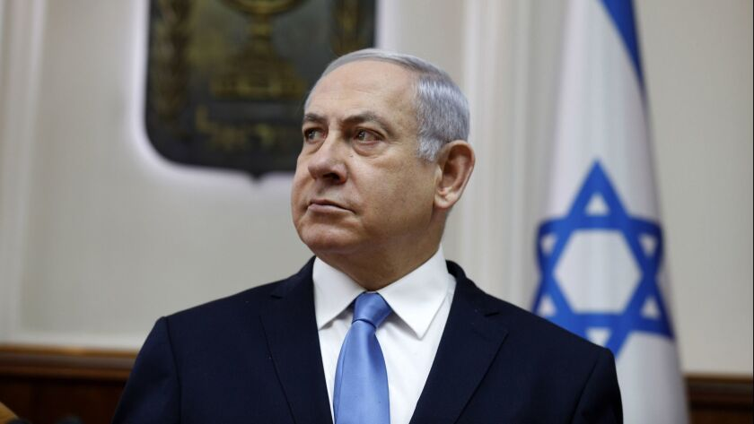 Israeli Prime Minister Benjamin Netanyahu chairs the weekly cabinet meeting at his Jerusalem office on March 10.