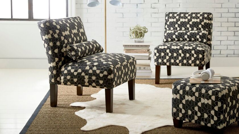 Chairs with Lauren Bencivengo's fabric designs, from the collection for Bed Bath & Beyond.