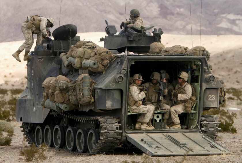Marines with the 2nd Battalion, 4th Marine Regiment in an amphibious assault vehicle, Jan. 29, 2013.