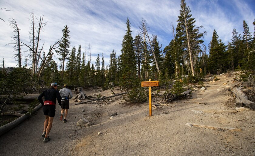 Trail runners run past new signage and revamped trails at the Horseshoe Lake Trailhead in Mammoth Lakes in Oct. 2019.