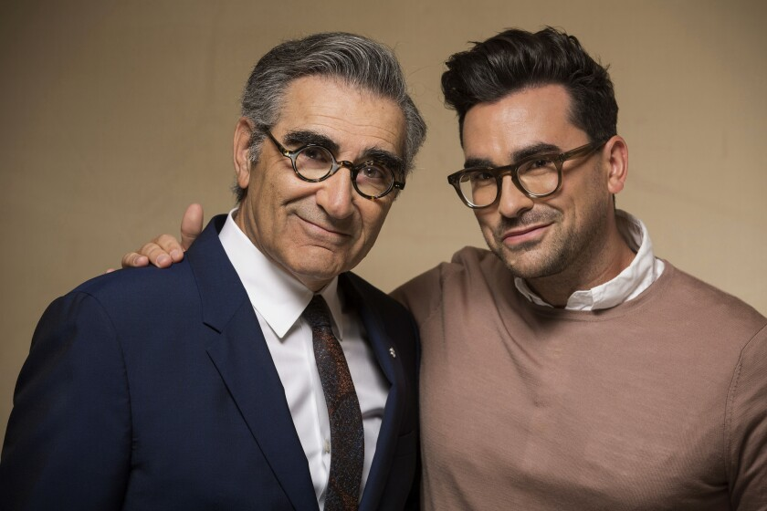 """Father and son Eugene and Dan Levy are co-creators and costars of the sitcom """"Schitt's Creek."""""""