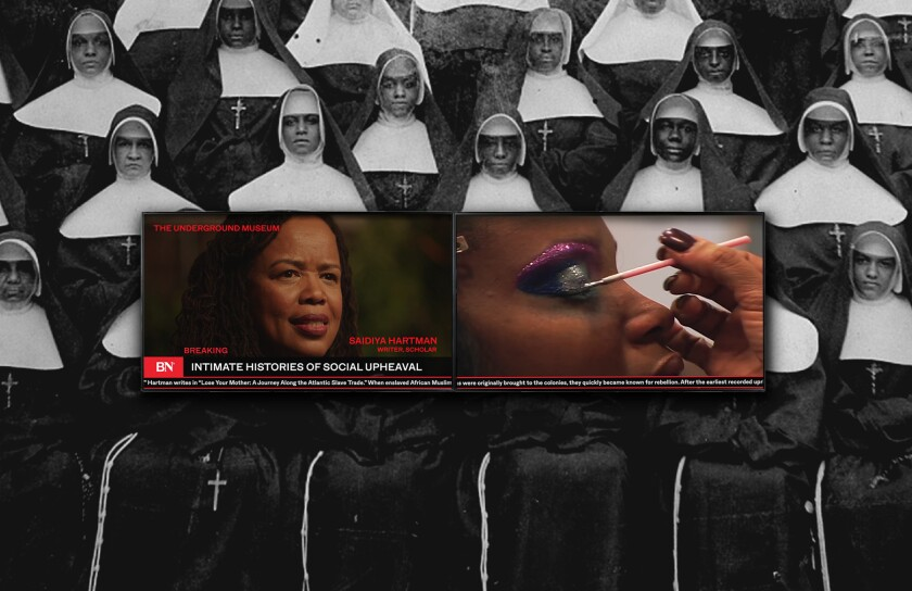 "A still from Kahlil Joseph's ""BLKNWS"" shows a photo of nuns layered by an image of a woman applying makeup."