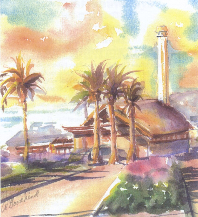 The late Del Mar resident Alice Goodkind painted a watercolor of the city's powerhouse and adjacent park. The image is being used in association with celebrations of the 60th anniversary of cityhood.