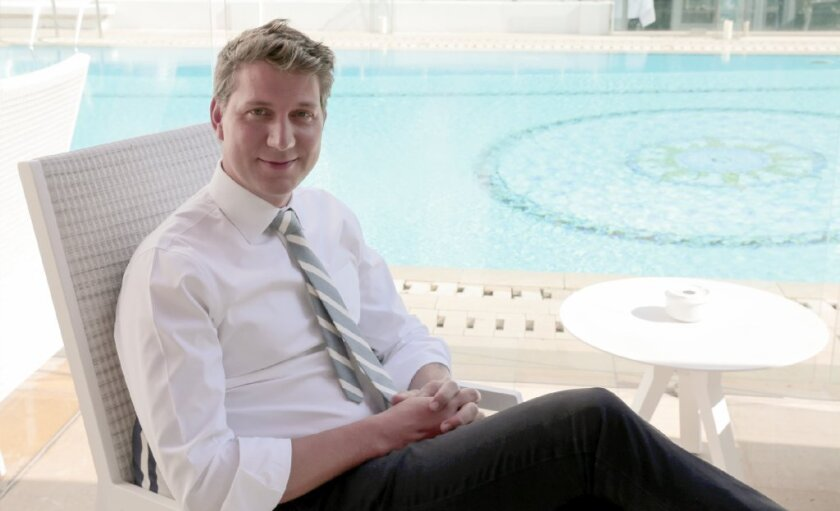 Nichols, poolside in Cannes