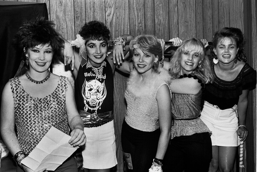 The Go-Go's backstage at the Rolling Stones gig in Rockford, Ill., on Oct. 1, 1981.