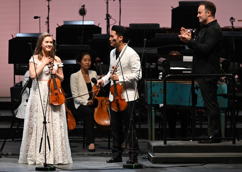 Laura Kukkonen, 18, of Helsinki, Finland, won the L.A. Phil's Play with Ray contest and a chance to perform Bach's Concerto for Two Violins with Ray Chen on Thursday at the Hollywood Bowl.