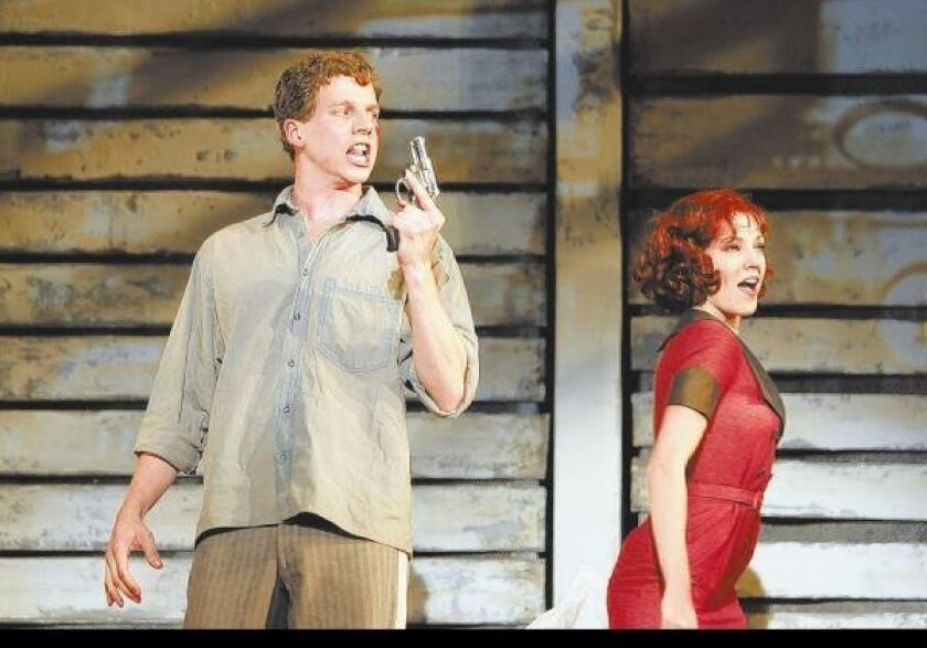 """Stark Sands is Clyde and Laura Osnes is Bonnie in the La Jolla Playhouse world premiere of """"Bonnie & Clyde,"""" a musical based on the couple's ill-fated crime spree."""