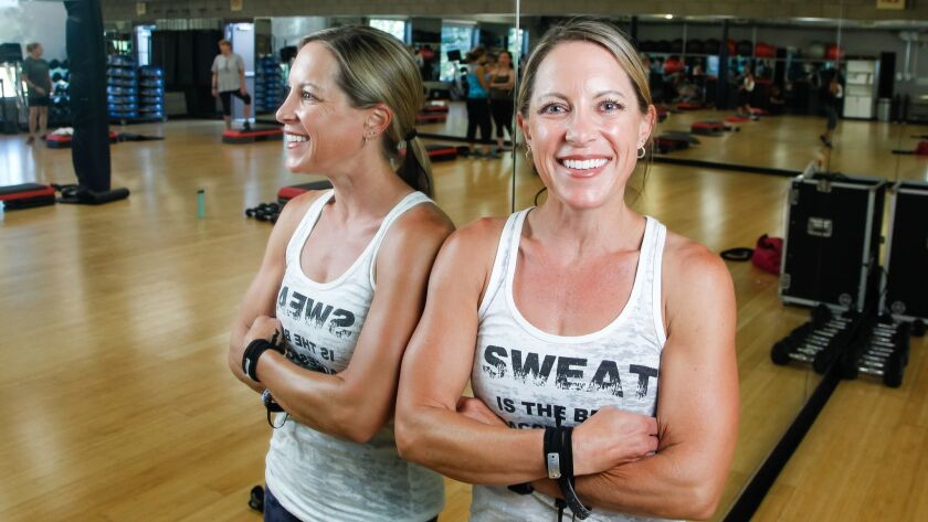 SAN DIEGO, CA October 18th, 2018 | Kristin Stehly poses for a photo before her fitness class on Thur