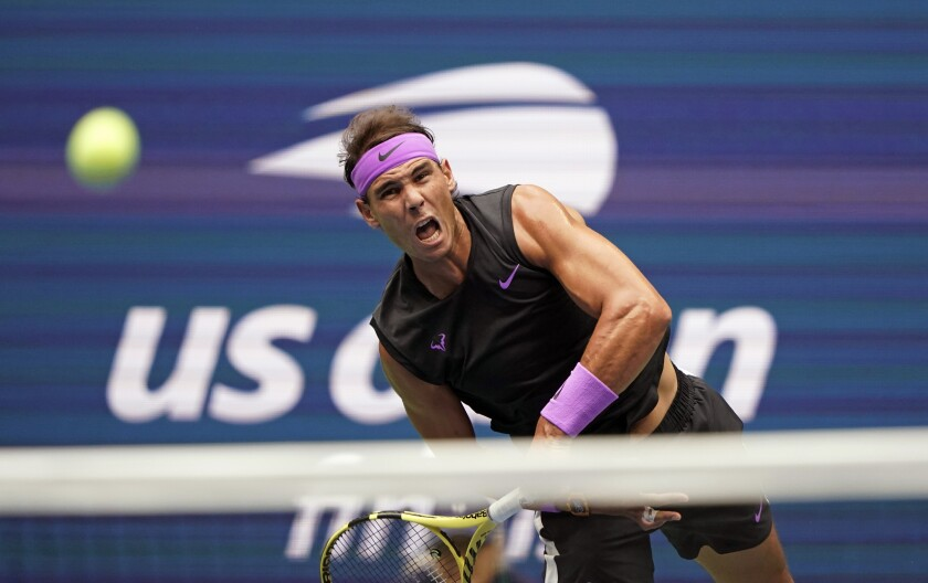Rafael Nadal serves to Daniil Medvedev during the men's singles final of the 2019 U.S. Open.