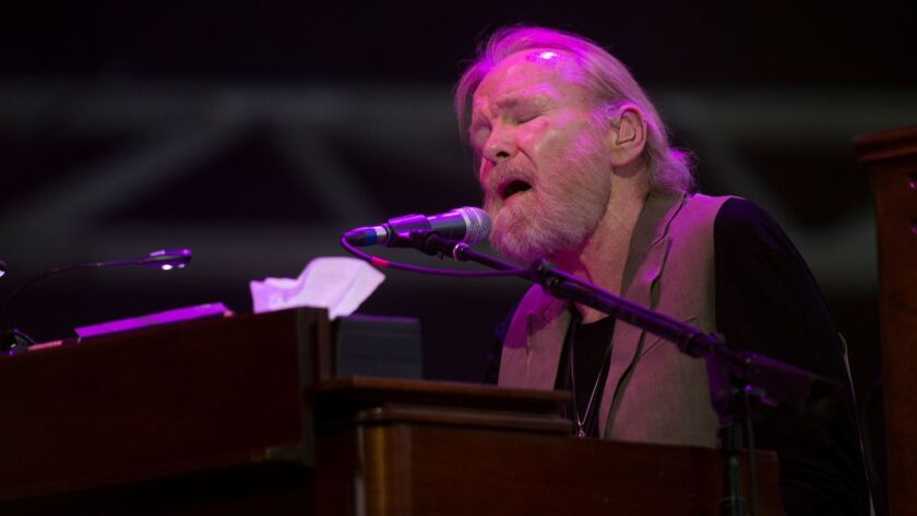 Veteran rocker Gregg Allman, shown performing at the Stagecoach Country Music Festival in Indio in 2015, has canceled all touring for 2017.