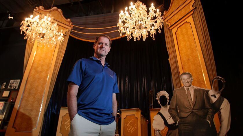 Joshua Carr, manager and producer of the Welk Resort Theatre in Escondido, inside the lobby of the Escondido venue, which will close on Dec. 31. Carr will no longer work for Welk, but resort officials say the theater will reopen in fall 2018.