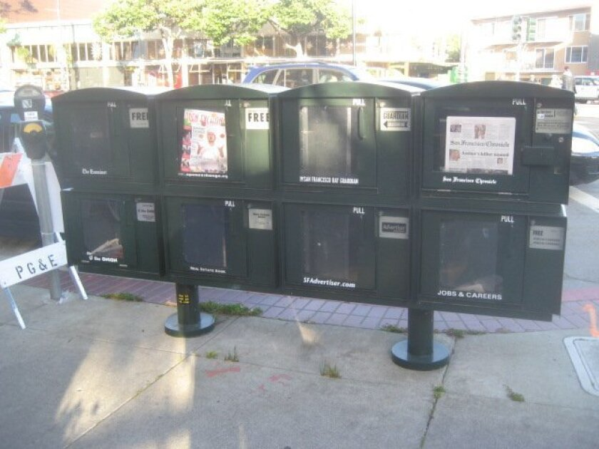 Consider the outdoor racks from the JCDecaux company popular in downtown San Francisco and Chicago.