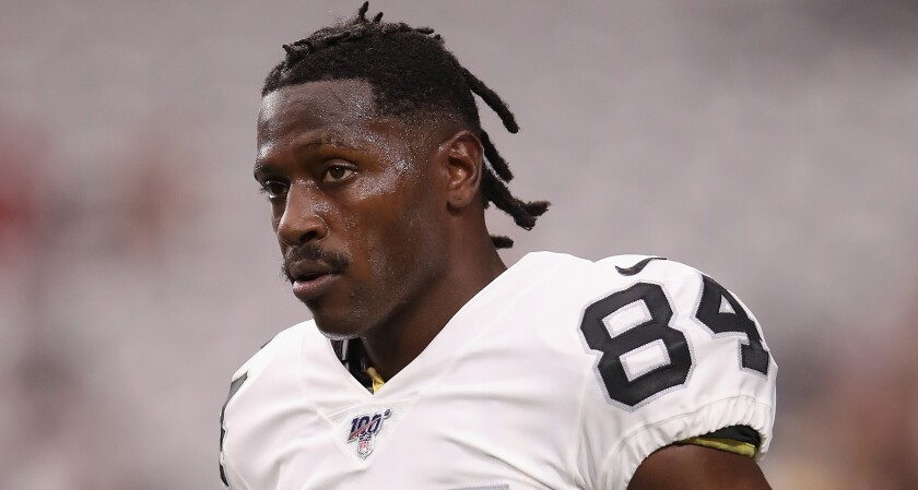 Oakland Raiders receiver Antonio Brown warms up before a preseason game against the Arizona Cardinals on Aug. 15.