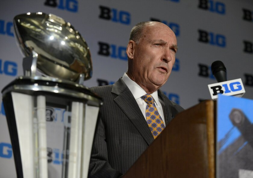 Big Ten commissioner Jim Delany speaks to the media during the NCAA college Big Ten Football Media Day Friday, July 31, 2015 in Chicago. (AP Photo/Paul Beaty)