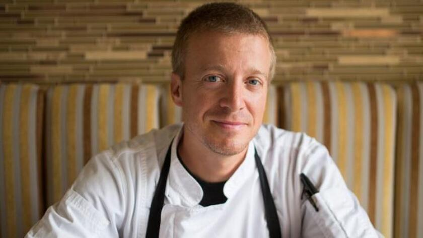 Chef Justin Cogley, of Aubergine in Carmel, returns to San Diego Monday to prepare a nine-course dinner with chef Trey Foshee at George's California Modern. The next day, he'll helm a taco takeover at Foshee's Galaxy Taco, a casual spot in La Jolla Shores. (Courtesy photo)
