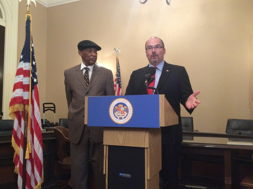 Assemblyman Tim Donnelly (R-Twin Peaks), right, appears on Monday with Don Parks, founder of Applied Technologies Inc., to call for better access to state websites for disabled people.
