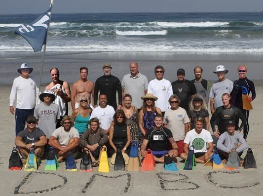 Members of the DMBC at 17th Street, Del Mar. Dr. Chris Lafferty is at bottom right, the 2014 winner of the World Bodysurfing Championship in the Mens 55-64 age group.