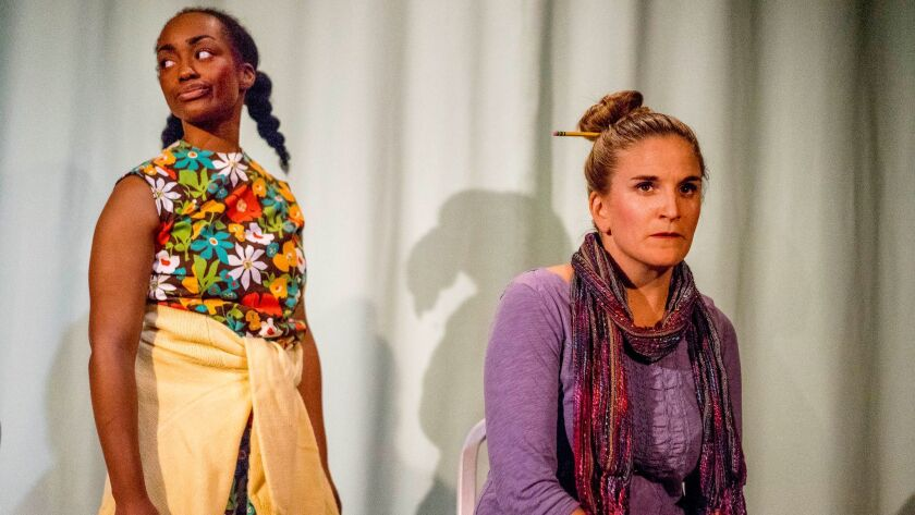 """Cashae Monya (left) and Samantha Ginn in Diversionary Theatre's """"Well."""""""