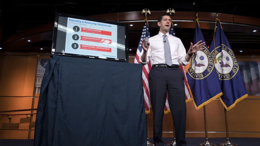 Speaker of the House Republican Paul Ryan gives a presentation on the Republican plan to repeal the Affordable Care Act and replace it with the American Health Care Act, in Washington on March 9.