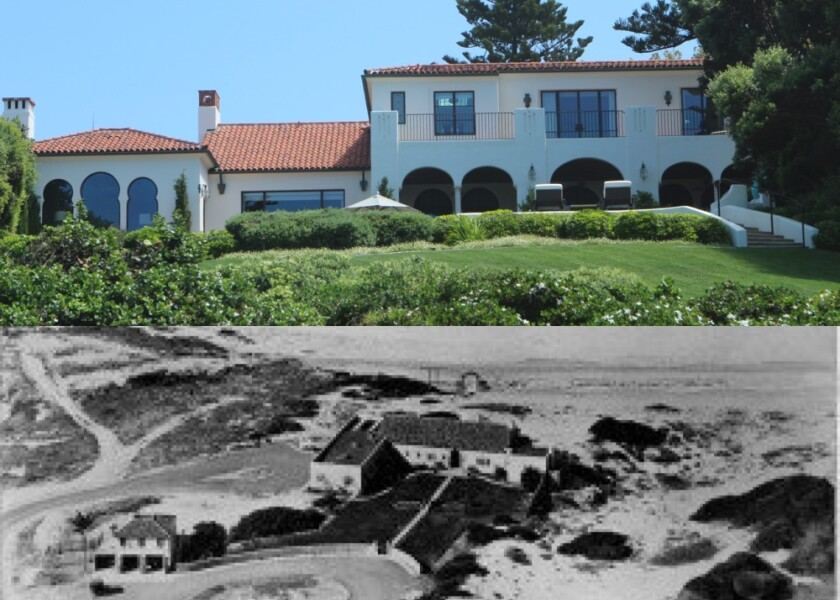 NOW (top): Architect Philip Barber, namesake and founder of the Barber Tract neighborhood, built a house in 1922 that this modern one barely resembles. THEN: (bottom): The oceanfront estate was later owned by actor Cliff Robertson.