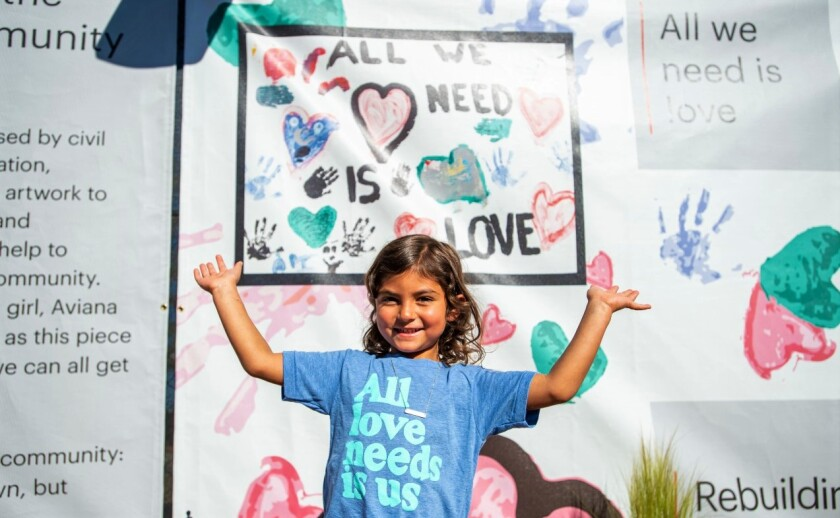 A painting by Aviana Dobesh, 4, after the May 30 protest destroyed La Mesa's Union Bank, is featured in the temporary branch.
