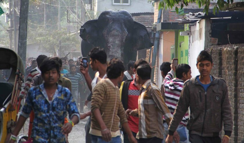 A wild elephant that strayed into the town moves through the streets as people follow at Siliguri in West Bengal state, India, Wednesday, Feb. 10, 2016. The elephant had wandered from the Baikunthapur forest on Wednesday, crossing roads and a small river before entering the town. The panicked eleph