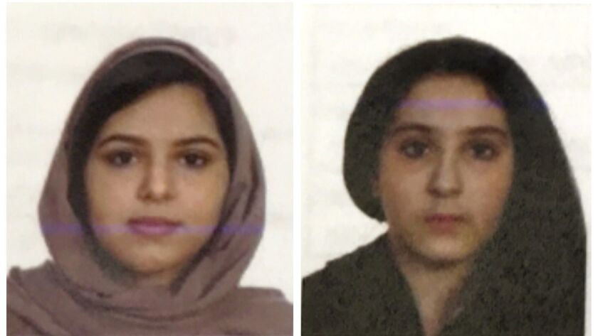 These two undated photos show sisters Rotana, left, and Tala Farea, whose fully clothed bodies, bound together with tape and facing each other, were discovered on the banks of New York City's Hudson River waterfront on Oct. 24, 2018.