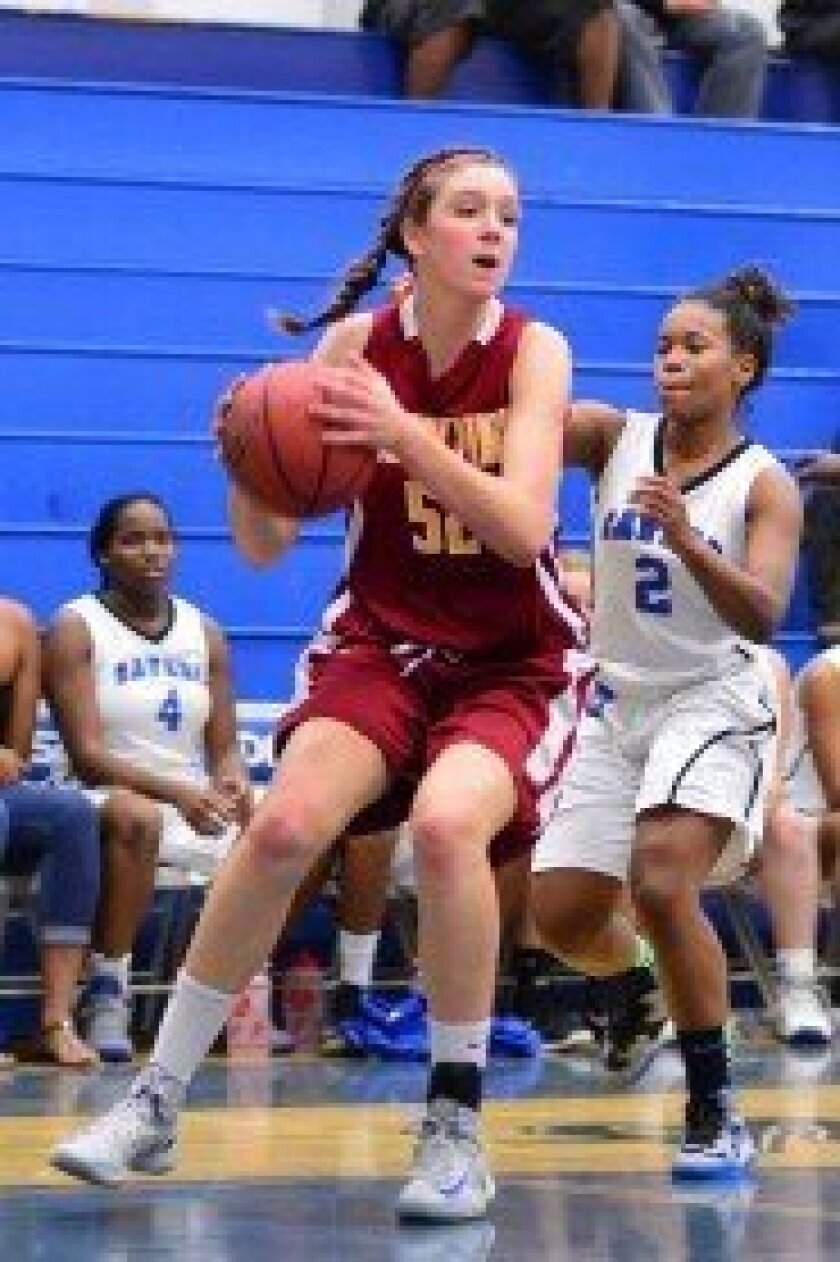 TPHS 6'3 sophomore Sierra Campisano helped herself to a double double in the Dec. 2 win over San Diego High with 28 points and 10 rebounds. Campisano also had three assists, three steals and four blocks. Photo/Anna Scipione