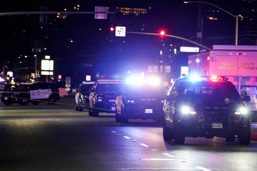 Police respond to the scene of a multiple shooting