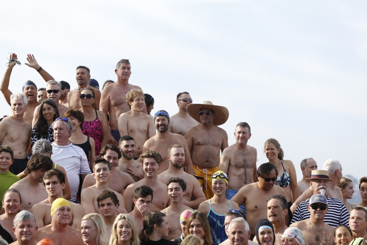 Swimmers gather for a group photo.