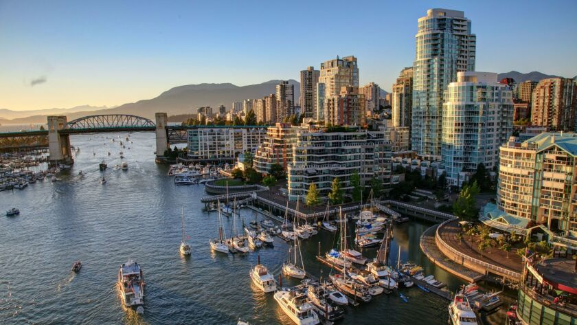 A view of Vancouver, Canada, at sunset.