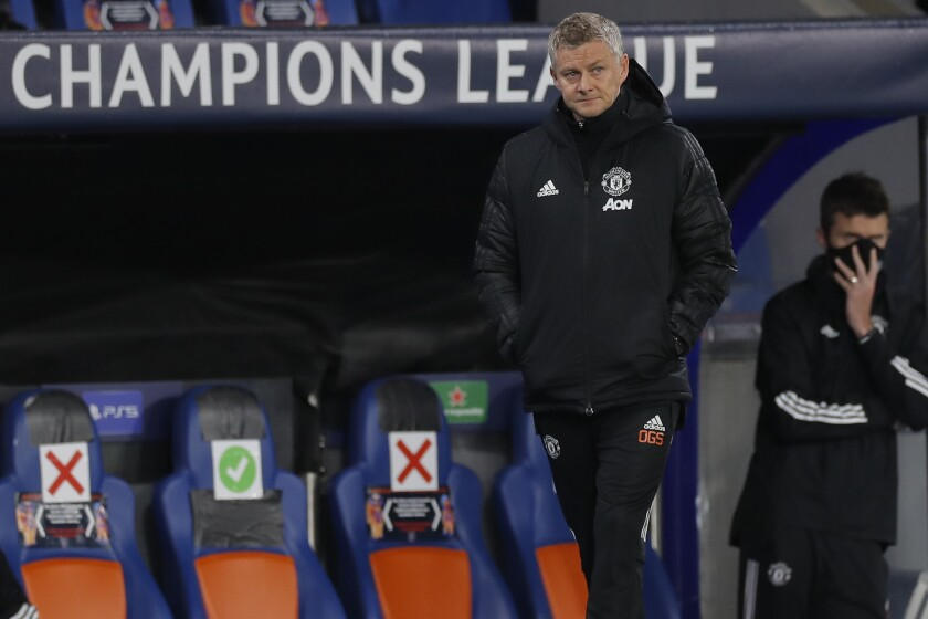 Manchester United's manager Ole Gunnar Solskjaer gestures during the Champions League group H soccer match between Istanbul Basaksehir and Manchester United at the Fatih Terim stadium in Istanbul, Wednesday, Nov. 4, 2020. (AP Photo)