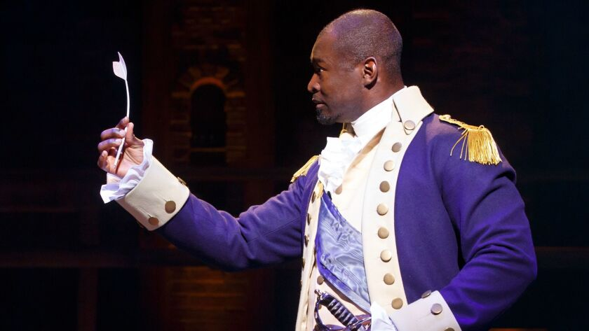 "Isaiah Johnson as George Washington in the touring production of ""Hamilton."""
