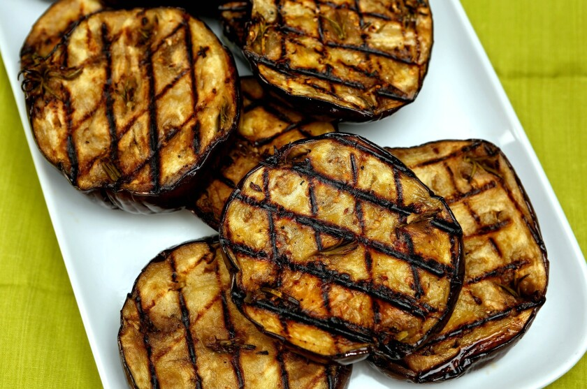 Recipe: Grilled eggplant with anchovies, garlic and rosemary
