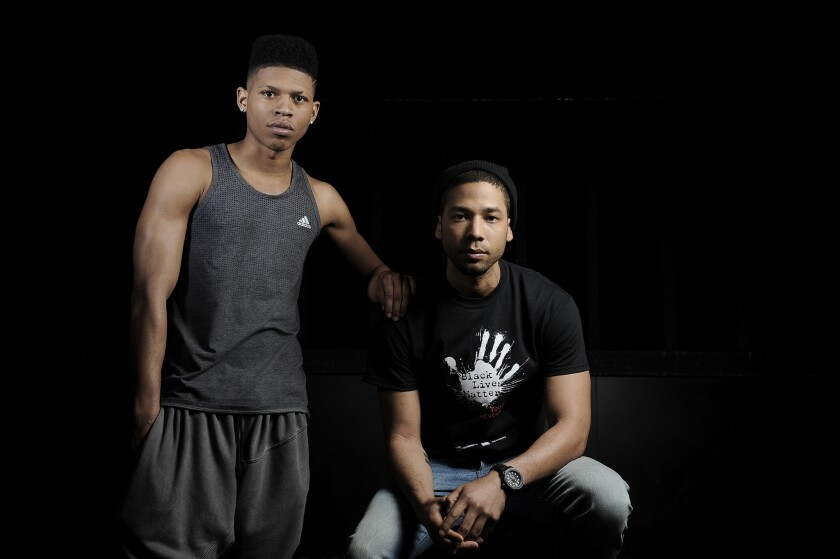 """""""I was recording my album in a home studio off of Fairfax,"""" Jussie Smollett, right, said, """"and then four weeks later I'm at the Hit Factory with Timbaland and Jim Beanz."""" He's pictured with rapper Bryshere Gray, who uses the stage name Yazz the Greatest."""