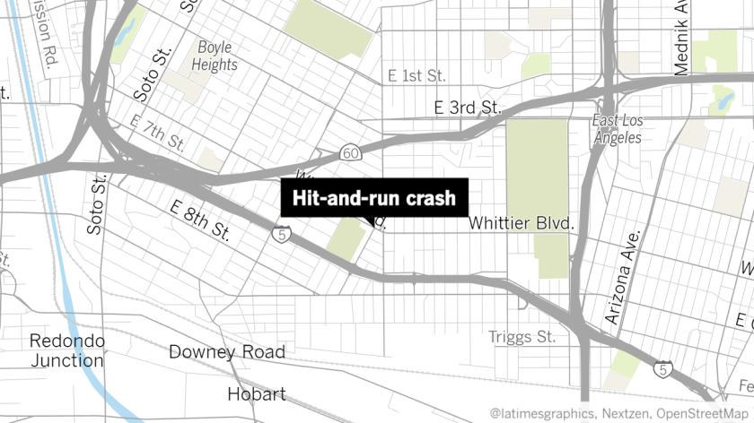 Map showing Whittier Boulevard near Calzona Street
