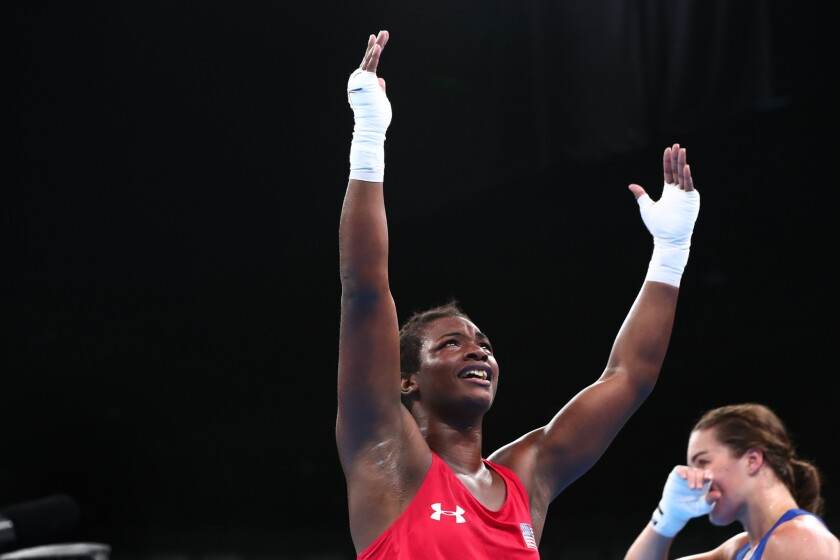 U.S. boxer Claressa Shields celebrates after beating Nouchka Fontijn of the Netherlands in the women's middleweight final.