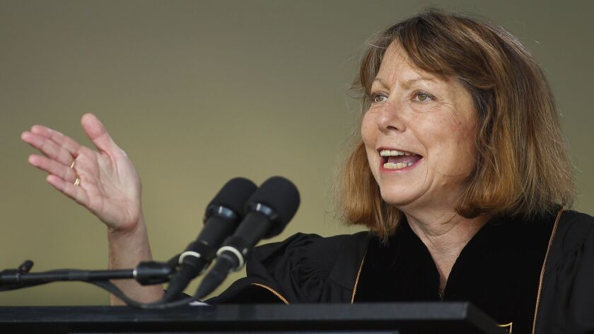 Jill Abramson, former executive editor at the New York Times, speaks during commencement ceremonies for Wake Forest University on May 19, 2014.