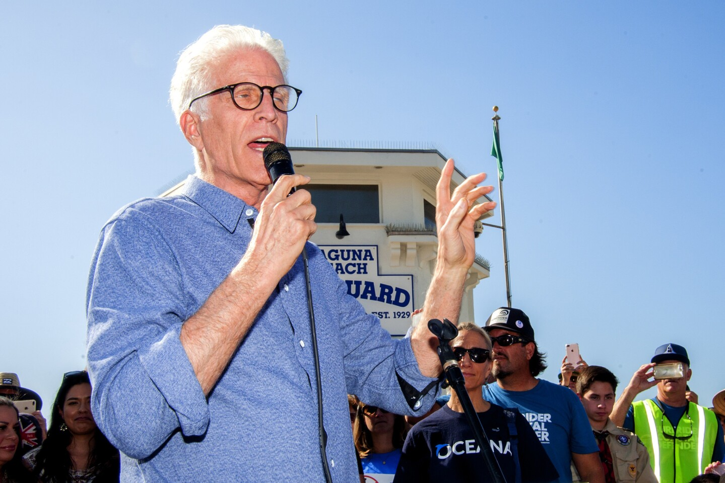Oceana board member and actor Ted Danson speaks at the rally at Main Beach in Laguna Beach on Saturday. The rally was held to  oppose President Trump's proposal to open California's coastline to offshore drilling for the first time since 1984.