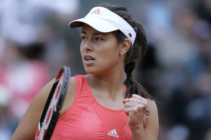 FILE - In this June 7, 2008, file photo, Serbia's Ana Ivanovic reacts as she plays Russia's Dinara Safina during the women's final of the French Open tennis tournament at Roland Garros in Paris. Grand Slam title winners Ivanovic, Flavia Pennetta, Carlos Moya and Cara Black are the new nominees on the International Tennis Hall of Fame ballot for the Class of 2022, joining holdovers Lisa Raymond and Juan Carlos Ferrero. The Rhode Island-based Hall announced the candidates Thursday, Oct. 14. (AP Photo/Christophe Ena, File)