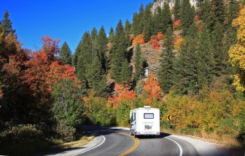 Utah can be rich with the vivid colors of fall, especially along the Logan Canyon National Scenic Byway, shown here, and the Ogden River Scenic Byway.