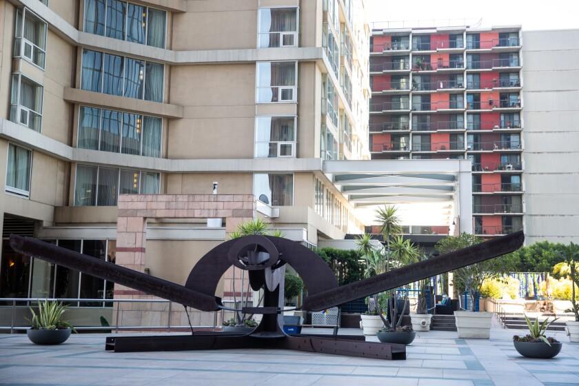"LOS ANGELES, CALIF. - APRIL 25: Mark di Suvero's ""Pre-Natal Memories,"" at One Cal Plaza, photographe"