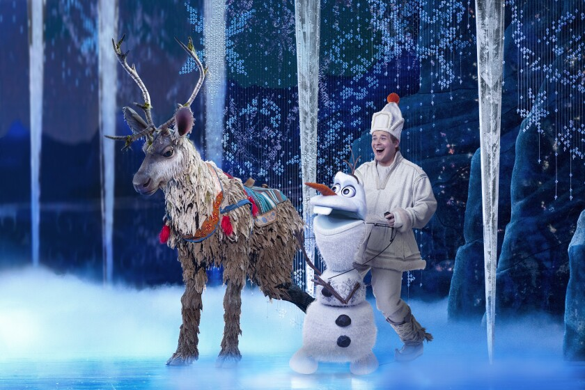 "Collin Baja gamely dons the Sven suit, and F. Michael Haynie is a seamless double for Olaf in the ""Frozen"" musical's North American tour."