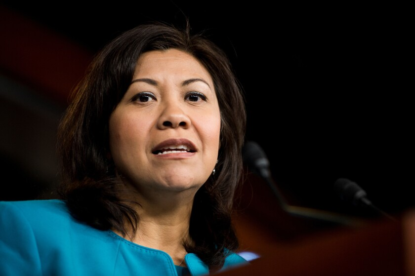 Rep. Norma Torres (D-Pomona) speaks at a Congressional Hispanic Caucus news conference.