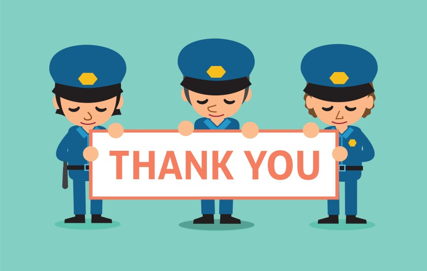 drawing of law enforcement with thank you sign
