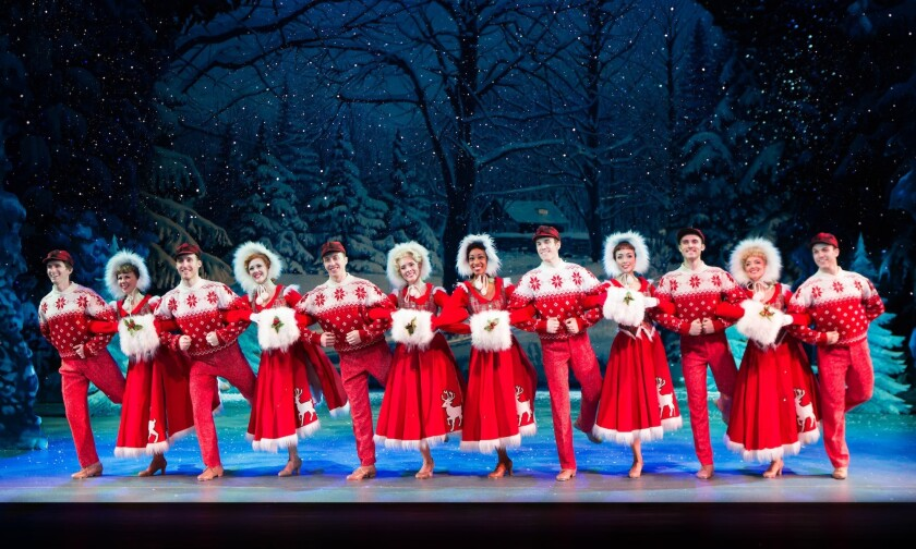 """The cast of the musical """"White Christmas,"""" which is playing at the Smith Center."""