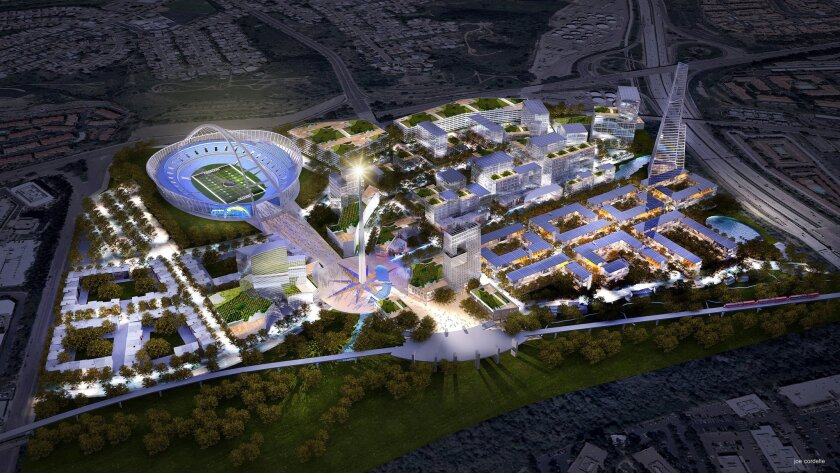 The Qualcomm Stadium site could be redeveloped to include a 33-story office tower at far right; nearly 6,000 homes in low-rise developments at the lower left and right; a 16-story hotel south of the new stadium; a grand plaza and spire leading from the existing San Diego Trolley station; and a 20-a