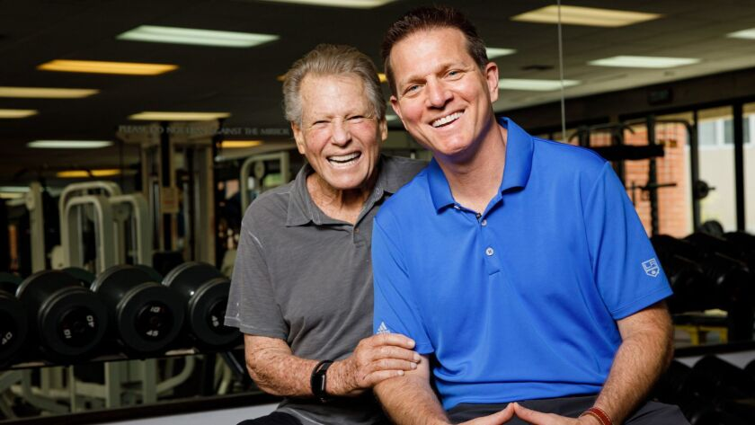 """Ryan O'Neal and his son Patrick O'Neal at the Brentwood gym they teamed up to save. """"He just means the world to me,"""" Patrick says."""