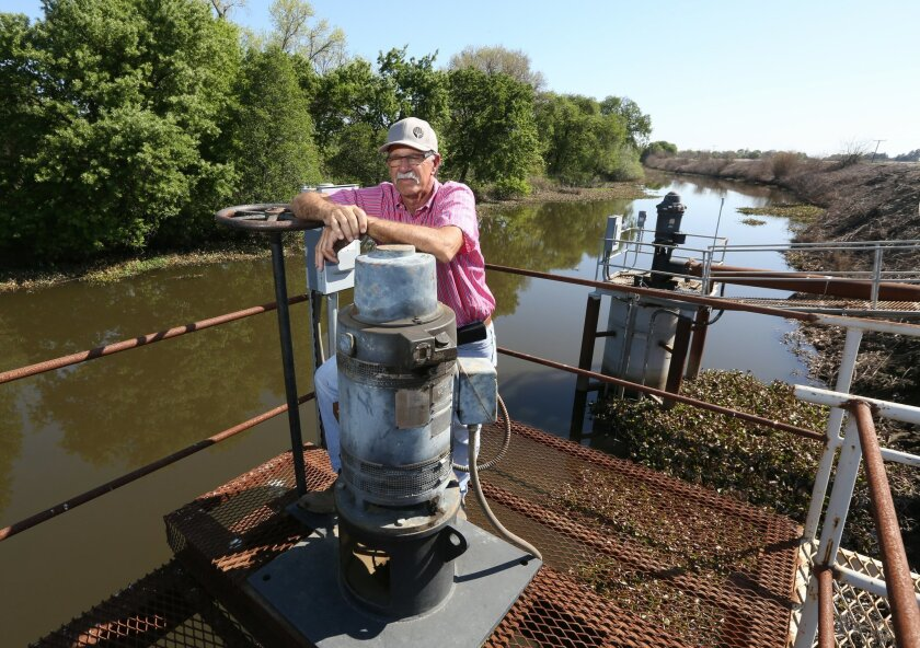 In this photo taken Friday March 27, 2015, farmer Rudy Mussi poses at one of his pumps that draws water from a slough to irrigate his farm land in the Sacramento-San Joaquin Delta near Stockton, Calif.  As California enters the fourth year of drought, huge amounts of water are mysteriously vanishin